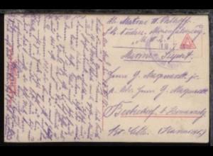 MSP ??? 18.7.1918 (Nr. nicht Lesbar) auf CAK, Abs.-Ang. SM Nordsee-Minenfahrzeug