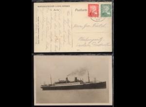 DASP BREMEN-NEW YORK 8.11.25 VII auf AK (Dampfer Berlin)
