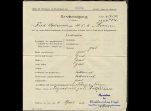 1932 Bescheinigung eines Matrosen zur Eignung als Bootsführer, gefaltet