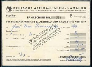 Fahrschein Nr. 388 für die Hansafahrt mit D. Pretoria