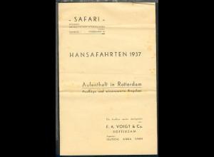 Hansafahrten 1937 Merkblatt für den Aufenthalt in Rotterdam