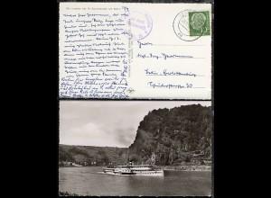 OSt. Mainz 20.9.56 + Bord-Stpl. MS Köln auf AK (Dampfer Frieden)