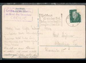 Maschinen-Stpl. Koblenz 15.5.30 + R3 Gruß vom Rhein an Bord des Dampfers