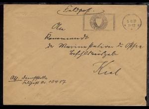 Maschinen-Tarn-Stpl. 5.10.39 auf Dienst-Bf., Abs.-Ang. 10417