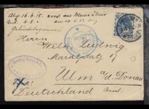 Bf. ab Amsterdam 31.VII.15 nach Ulm mit K2 Auslandsstelle Emmerich Freigegeben