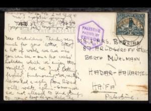 1941 AK aus Südafrika nach Haifa/Palästina mit Zensur-Stpl.
