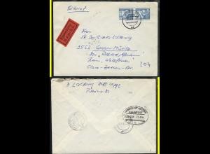 LUDWIGSLUST-ROSTOCK c ZUG 02330 21.6.84 rs auf Eil-Bf. ab Leipzig
