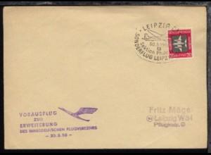 LEIPZIG C1 Sektion Philatelie SONDERFLUG LEIPZIG-ERFURT 30.3.1958 auf Bf.