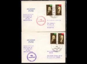 70 Jahre Zivile Luftfahrt 1.7.1965 2 Sonderflug-Belege Berlin-Moskau bzw.
