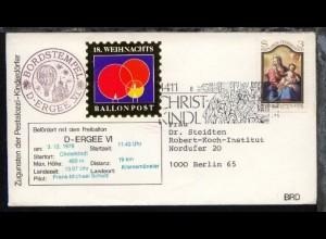 18. Weihnachts-Ballonpost Ballon D-Ergee VI Christkindl 3.12.78 Sonder-Umschlag