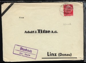 OSt. Reutte 27.III.41 + R2 Stockach über Reutte auf Bf., Ostmark-Beleg