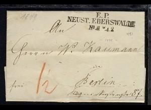 Neustadt-Eberswalde 1849 L3 E.P. NEUST. EBERSWALDE No III 7.2. auf Bf.