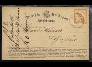 ½ Gr. kleiner Schild auf PK (Formular C 154) ab Wetzlar 3.1.73 nach Giessen