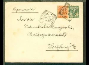 Bf. ab Torino 5.1.03 nach Strassburg mit rs Siegel-Oblate