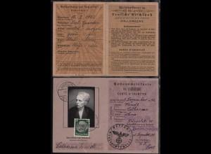 Postausweiskarte ausgestellt am 8.12.1939vom Postamt Berlin-Steglitz