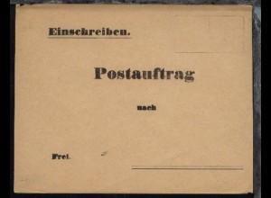Postauftrag Einschreiben-Umschlag, ungebraucht, rs. Bf.-Klappe beschädigt