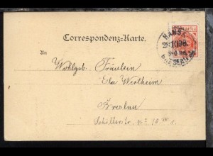 Breslau Privat-Stadtbrief-Beförderung Hansa 2½ Pfg-Marke auf AK mit Stpl.