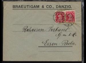 40 Pfg. Kogge 2x auf Firmen-Bf. (Braeutigam & Co., Danzig) mit Stpl.