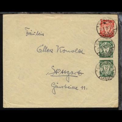 2x 194 + 214 auf Bf. mit Stpl. DANZIG-LANGFUHR b 22.2.29 nach Stuttgart