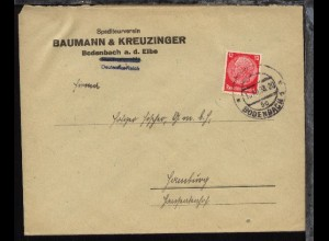 OSt. BODENBACH 1 5c 15.XII.38 auf Firmen-Bf.