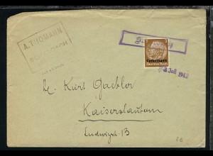 3 Pfg. auf Bf. mit R1 Schalbach + Datum-L1 3.Juli 1942 nach Kaiserslautern