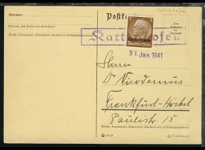 32 Pfg. auf PK mit R1 Kattenhofen + Datum-L1 31.Jan. 1941 nach Frankfurt-Höchst