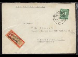 Ziffer 84 Pfg. auf R-Bf. ab Gersdorf 18.4.47 nach Glauchau