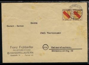 8 Pfg. waager. Paar auf Firmen-Bf. (Franz Frühbeißer, Kaiserslautern)