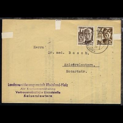 Freimarke 6 Pfg. und 10 Pfg. e auf Bf. der Landesversicherungsanstalt