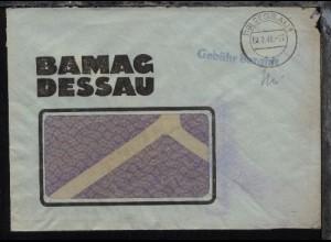 Dessau OSt. (19) DESSAU 1 y 04.8.48 + L1 Gebühr bezahlt auf Firmen-Fenster-Bf.