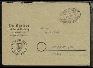 Konstanz Oval-Stpl. KONSTANZ Gebühr bezahlt 2.4.48 auf Bf.