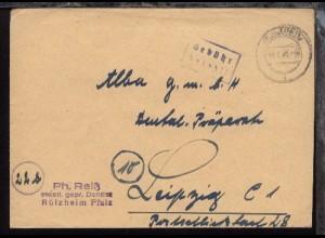 Rülzheim OSt. RÜLZHEIM b 14.4.47 + R2 Gebühr bezahlt auf Bf.