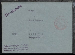 Reutlingen OSt. (14) REUTLINGEN 1 GEBÜHR BEZAHLT p 10.10.47 auf Drucksache