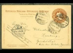 GSK ab Veracruz 5.1.1901 nach Hamburg mit Leitvermerk via Labedo y New York