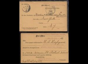 1899 Dienst-PK (Postsache) vom Postamt Athol Centre Mass. an Postamt New York,