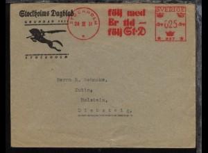 Schweden 1931 Firmen-Bf. (Stockholms Dagblad) mit AFS