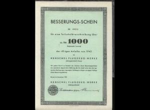 1959 Henschel Flugzeug-Werke AG Kassel Besserungs-Schein für eine