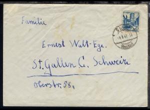 Württemberg Freimarke 75 Pfg. auf Brief ab Sulz 5.8.47