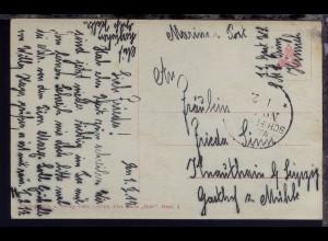 1917/18 8 FP-Belege mit (meist etwas undeutl.) MSP-Stpl., dabei MSP 65, 98 + 453