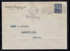 L1 MAJESTIC auf Brief ab New York JUL 9 1907 nach Chemnitz, Brief Büge