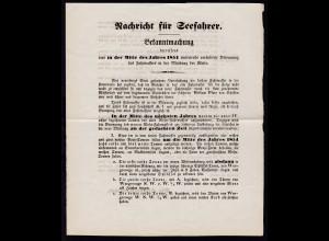 1853 Nachricht für Seefahrer Bekanntmachung betreffend eine in der Mitte des