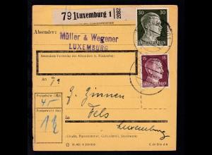 OSt. LUXEMBURG c 24.7.44 auf Paketkarte mit Hitler-Frankatur nach Fels/Luxemburg