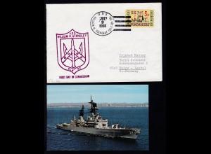 USS WILLIAM H. STANDLEY (DLG-32) JUL 9 1966 + Cachet auf Brief,