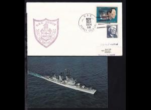 USS DEWEY (DLG-14) NOV 12 1974 + Cachet auf Brief, dazu CAK des Schiffes