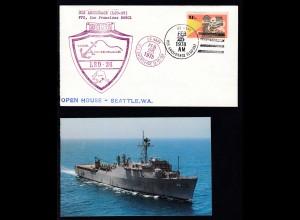 US NAVY USS ANCHORAGE (LSD-36) FEB 25 1978 + Cachet auf Brief,