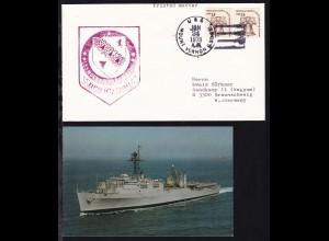 USS MOUNT VERNON (LSD-39) JAN 24 1979 + Cachet auf Brief, dazu CAK des Schiffes