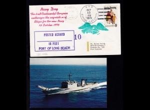 USS CAYUGA (LST-1186) OCT 13 1973 + Cachet auf Brief, dazu CAK des Schiffes