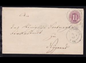 Ziffer 1¼ S. auf Briefhülle mit K2 NORBURG 10 8 67