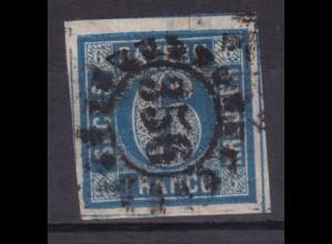 Wertziffer im Kreis 6 Kr. mit Mühlradstempel 356 (= Nürnberg)