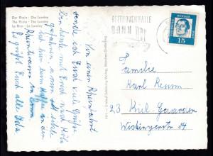 K1 Auf dem Rhein an Bord Dampfer Cecilie auf AK (Die Loreley) ab Bonn 5.8.64